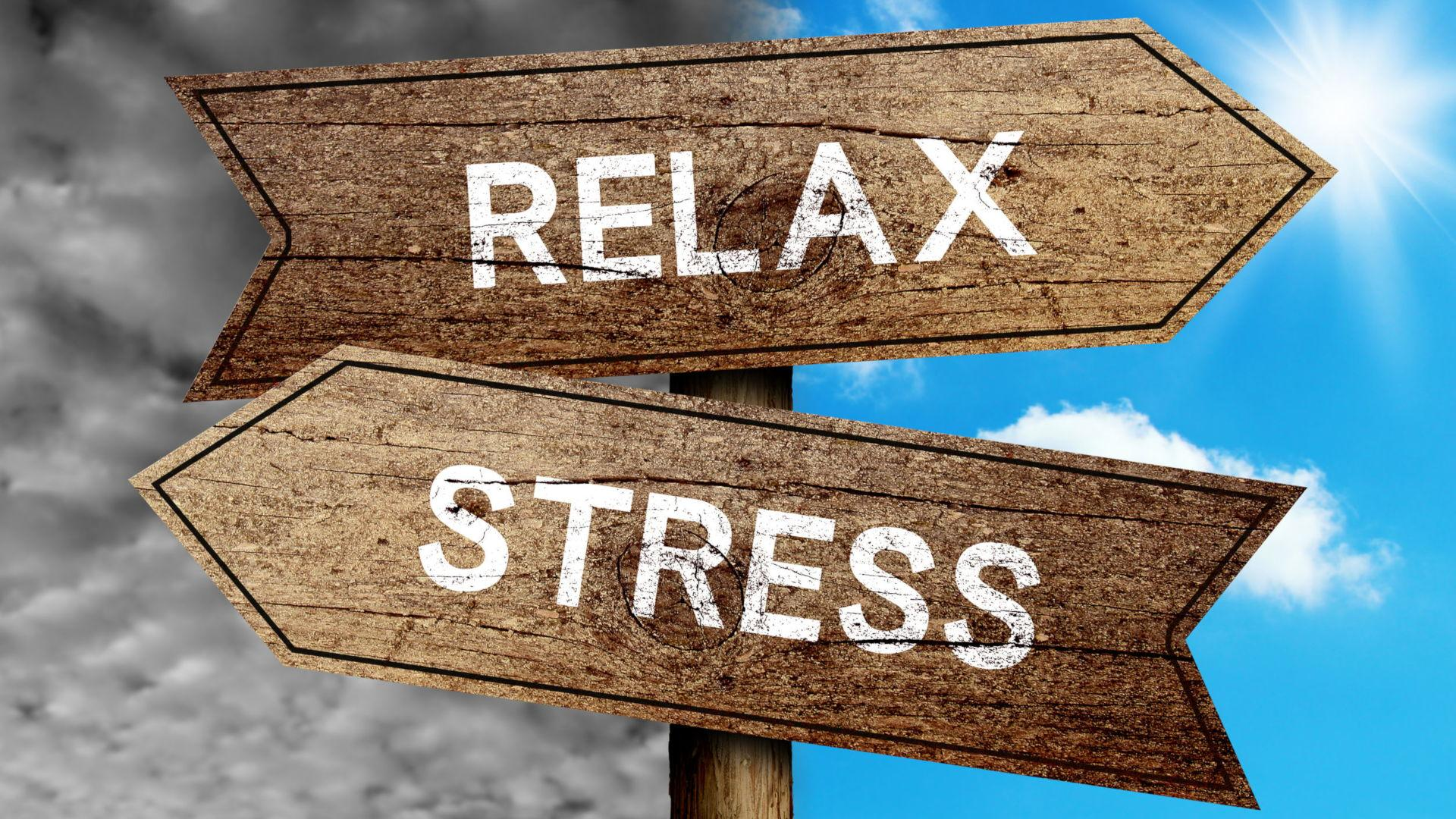 Sign With Relax And Stress Pointing In Different Directions